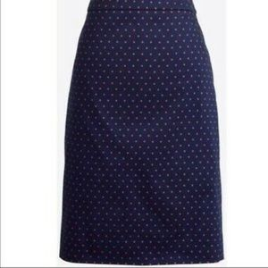 J Crew Polka Dot Pencil Skirt in Navy size 0
